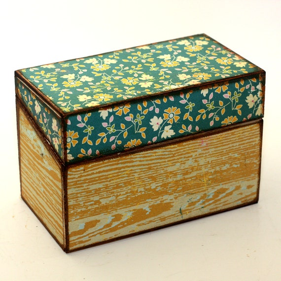 RESERVED Recipe Box Teal Flowers Yellow Faux Bois Fits 4x6 Recipe Cards