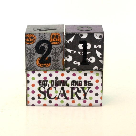 Halloween Countdown Wood Blocks