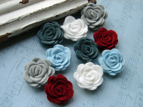 Wool Felt Flowers Mini Winter Berry Posies The Original Wool Felt Posies