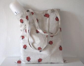 Strong linen tote bag, spring summer autumn book bag, canvas Ladybirds