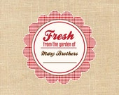 Personalized Canning baking labels Red Gingham Country
