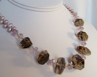 Statement Necklace in Pearl, Amethyst and Smokey Quartz