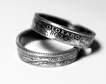 Handcrafted Ring made from a US Quarter - Colorado - Pick your size