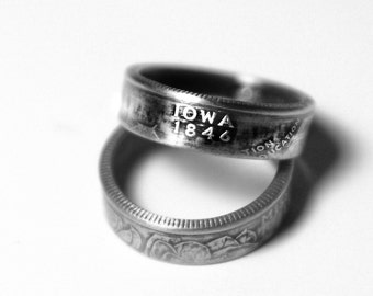 Handcrafted Ring made from a US Quarter - Iowa - Pick your size