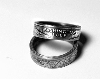Handcrafted Ring made from a US Quarter - Washington - Pick your size