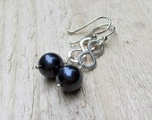 Silver Infinity Earrings - Navy Blue, Swarovski Pearl, Infinity Link, Figure 8, Gifts Under 25, - BeadinByTheSea