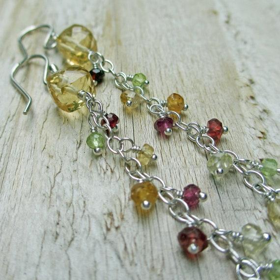 Citrine, Mixed Gemstone Sterling Silver Earrings -   Earthy Autumn Color, Tassels, Chain Earrings, Fall Splendor
