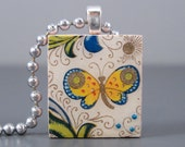 SALE Butterfly-A Scrabble Tile Necklace in a Tin