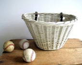 Vintage Bike Basket Rack White Woven Wicker / French Country Home