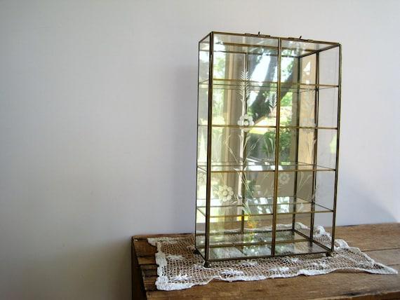 Vintage Brass Glass Curio Cabinet Case Large