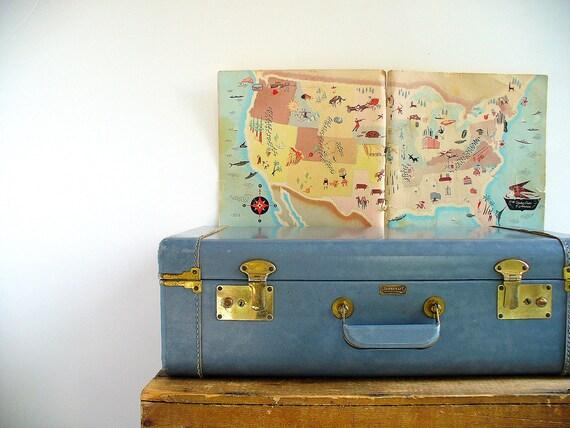 Vintage Suitcase Pan Am Blue / 1960s Mid Century Luggage / Storage Organization