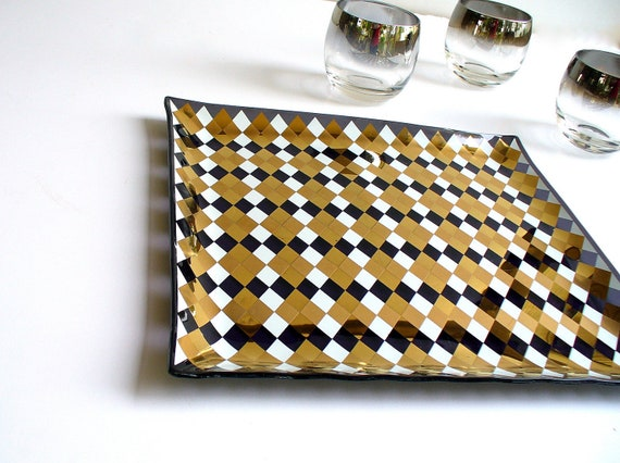 Mid Century Barware Harlequin Glass Tray / Vintage Metallic Cocktail Party Platter / Halloween Decor