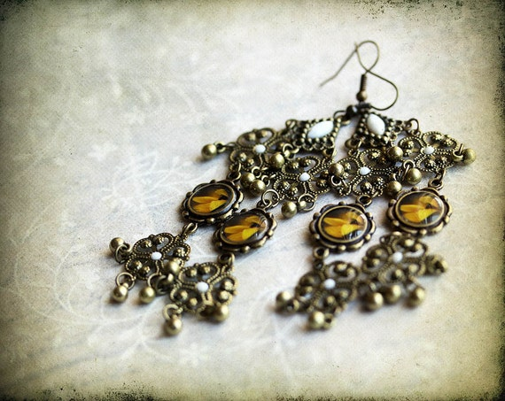sunflower earrings, flower jewelry,  Photo Jewelry - original photography