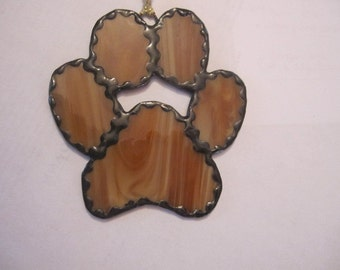 Sm. Stained Glass Doggy Paw Ornament