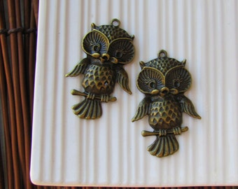 Brass Owl Charms x 2