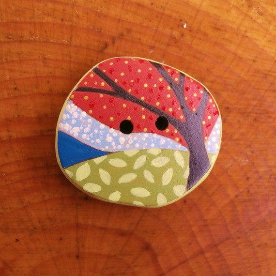 Miniature Art - Wood Sewing Button - Large Size - Country Scene