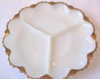Beautiful Gold Rimmed Milk Glass Serving Divided Dish Platter
