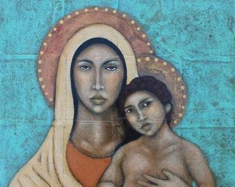 Virgin Mary and Baby Jesus Folk Art Icon Print of Mixed Media Painting By Tamara Adams