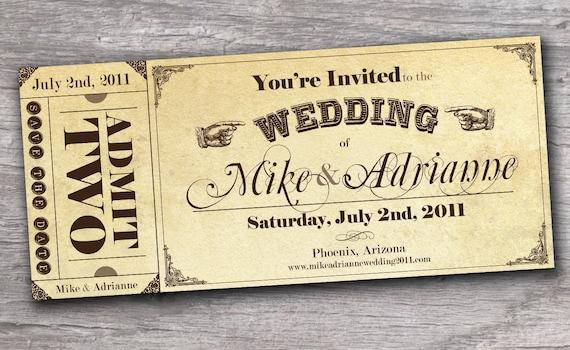 Wedding Ticket Invitations: Vintage Western Ticket Save The Date Wedding Invitation Sample