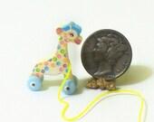 Pastel TooTall Giraffe Pull Toy KIT Dollhouse Miniature
