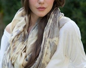 Sand and Fog beige and gray oversized silk scarf dyed with all natural plant extracts.