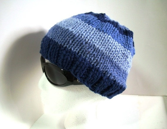 Soft and Cozy Hand Knit Hat in Wide Stripes of Blue Yarn - Buy as a Gift or For Yourself