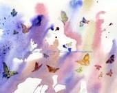 Watercolor Painting 8x10, Butterfly Art, Butterfly Painting, Butterfly Watercolor, Sky Art Print Titled Butterfly Heaven