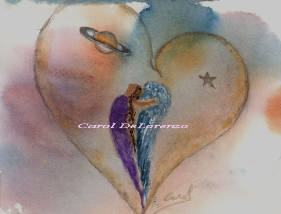 Watercolor Painting Heart Art, Heart Painting, Heart Watercolor, Angel Art, Angel Painting, Angel Watercolor Print Titled Cosmic Heart