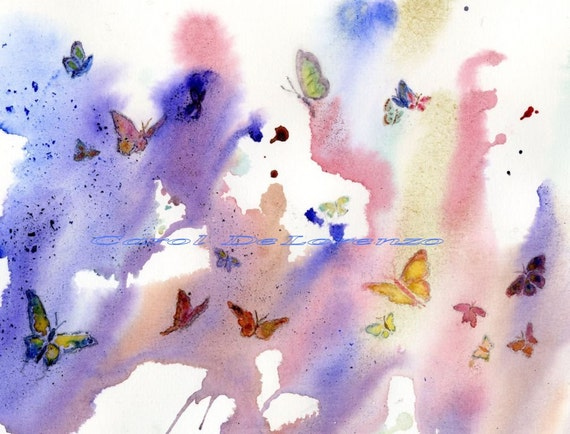 Watercolor Painting 8x10, Butterfly Art, Butterfly Painting, Butterfly Watercolor, Rainbow Colors, Sky Art Print Titled Butterfly Heaven