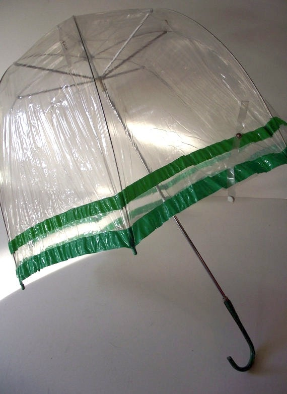 Vintage Bubble Umbrella - Green and Clear