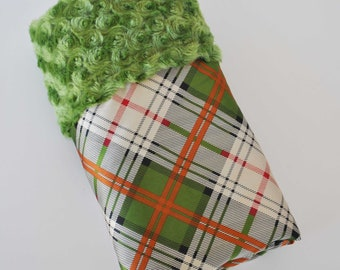 QUINCEY BABY BLANKET Collection..Green minky with green Plaid satin print  ...Soft and comforting fabrics make a great baby shower gift