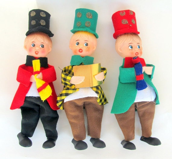 SALE Vintage Shiny Brite Christmas Carolers  Decoration