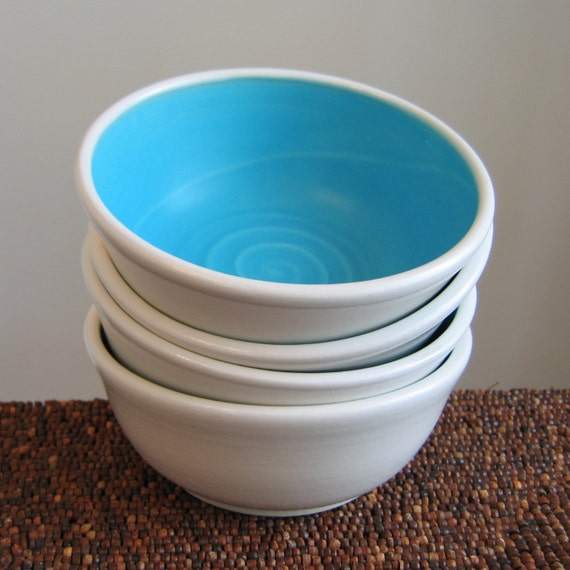 Turquoise Blue Soup or Cereal Bowls - Set of 4 Pottery Bowls