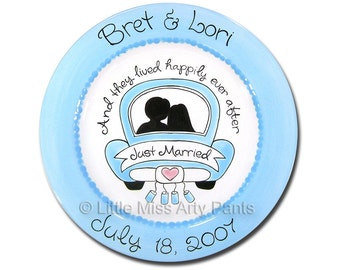 11 inch Personalized Wedding Plate - Just Married Design
