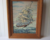 RESERVED ITEM Vintage Paint by Number Ship Framed Wall Hanging