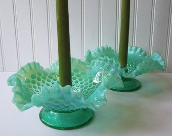 Fenton Hobnail Blue Green Opalescent Candle Bowl Pair - Vintage Chic