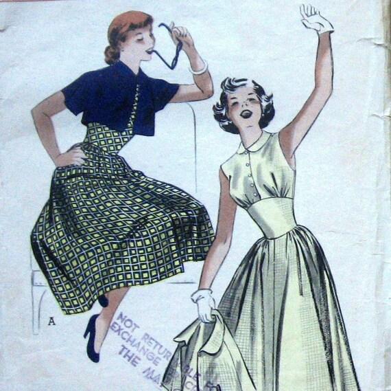 Vintage 50s Womens Dress Pattern With Bolero Jacket Butterick 5583 Sz14