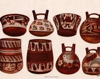 Vintage Edwardian Chart of Peruvian Pottery Chromolithograph