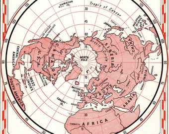 Vintage Polar Projection Map of the Northern  Hemisphere North Pole Europe Canada USA Africa
