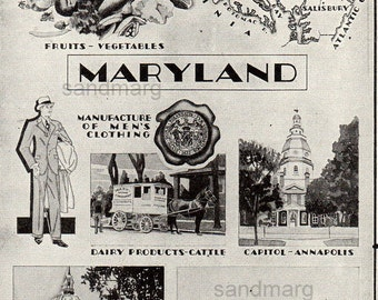 Maryland  Art Deco Style Map and Illustration of Dairy Industry Fishing Fruits Vegetables Mens Clothing Annapolis 1934