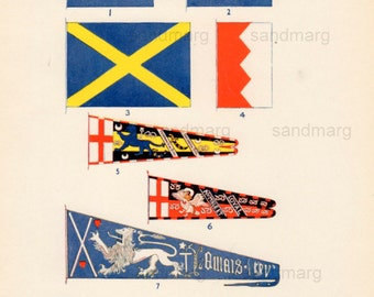 Vintage Chart of Banners and Standards Flags of St. Edmund St. Edward St Alban de Montfort Percy Stafford and Douglas