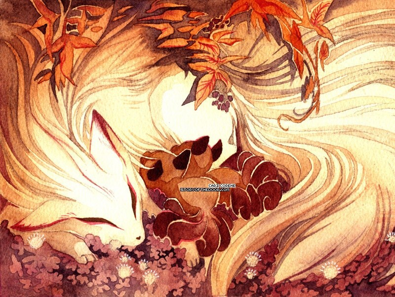 Ninetailed / Ninetails Fox Mom with Kitsune with Kits Art