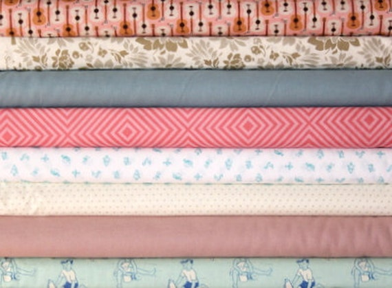 fat quarter bundle (dusty pinks and blues)--misc. designers--8 pieces--2 yards total