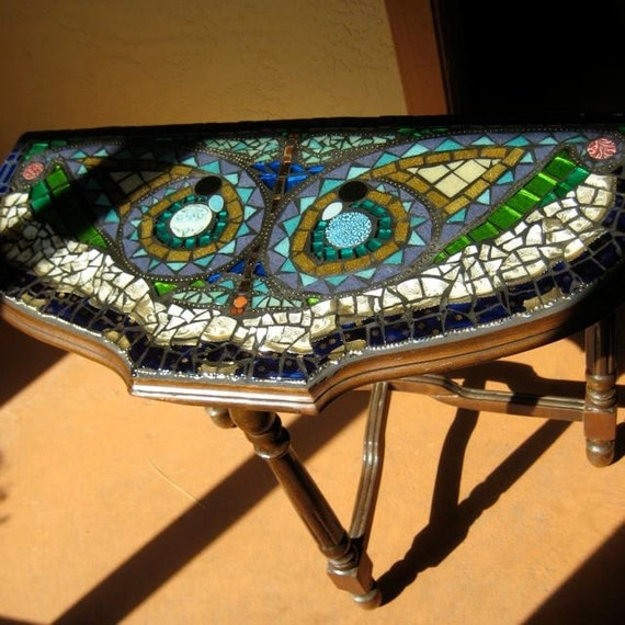 Mosaic Vintage Half Moon Table with Paisleys and Two Dragonflies