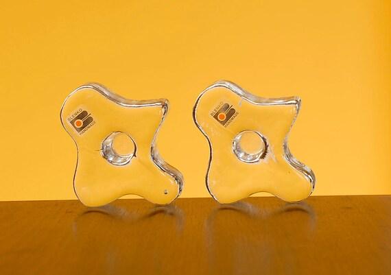 Vintage 60s Blenko Clear Glass Amorphic Amoeba Candle Holders w/Tags
