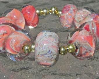 SALE-Hand made boro beads, Peach, Orange, Blue, Yellow From Misty Creek Studio Artist Terry Sieber