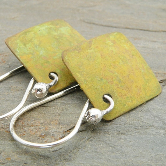Yellow Green Earrings, Copper with Patina, Squares, Metal, Sterling Silver Ear Wires