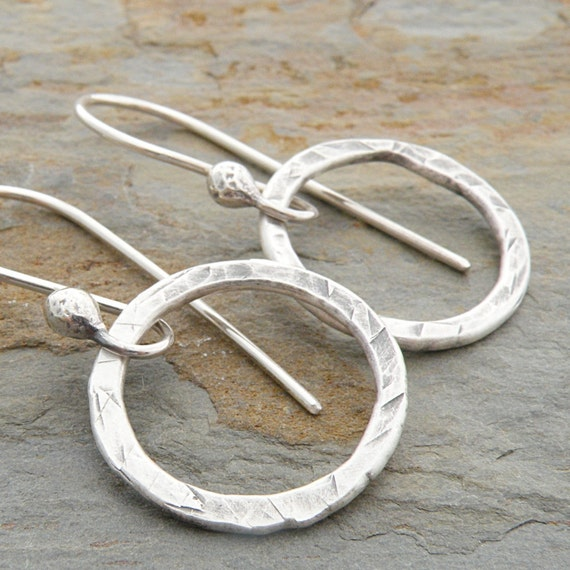Silver Earrings, Fine Silver, Circles, Textured, Casual, Sterling Silver