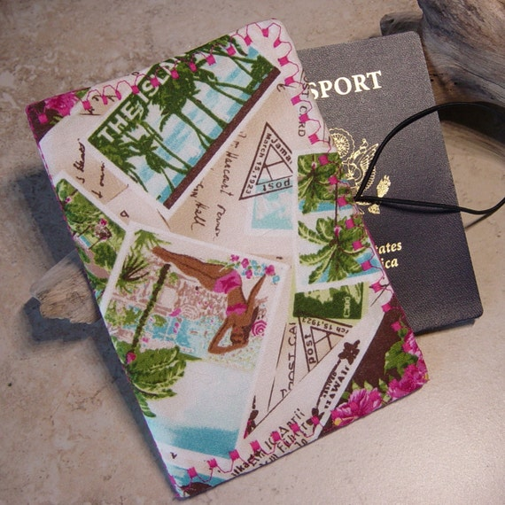 Passport Wallet in Travel Stamp Fabric