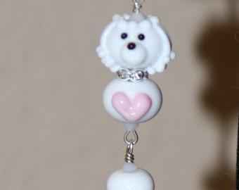 White Maltese Poodle Maltipoo DeSIGNeR PenDAnT SRA Lampwork poodles Pink Heart Little Girl